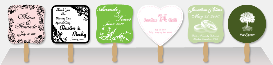 Row of five example wedding hand fans
