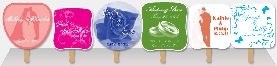 Row of five example one color wedding hand fans