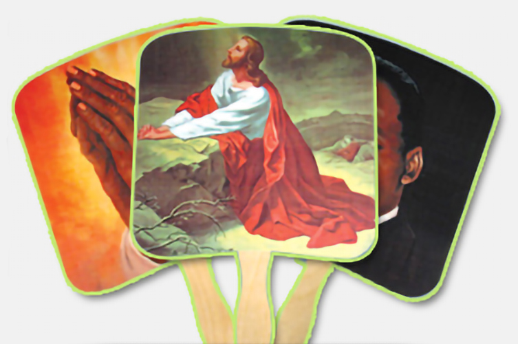 Three example religious hand fans