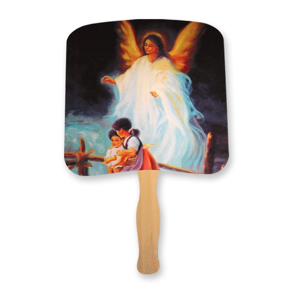 Guardian angel with children hand fan
