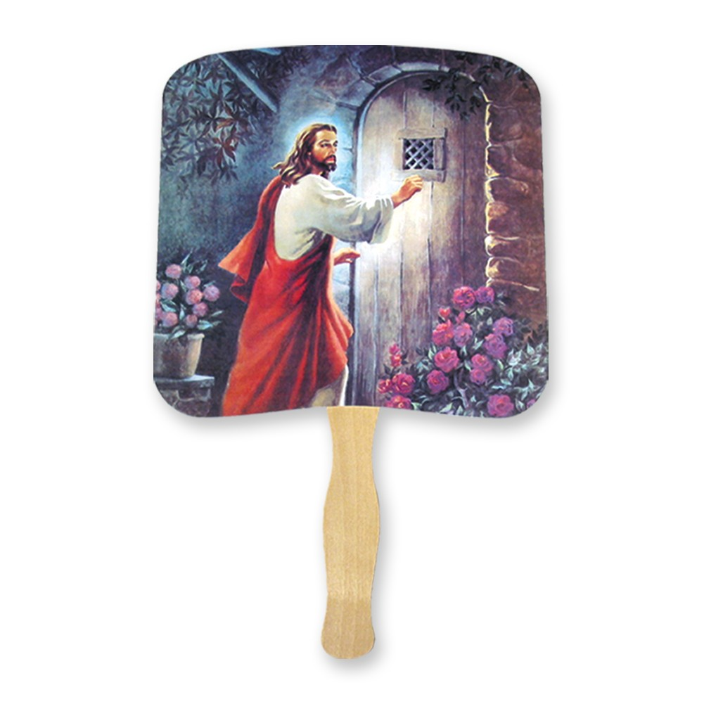 Christ knocking on the door hand fan